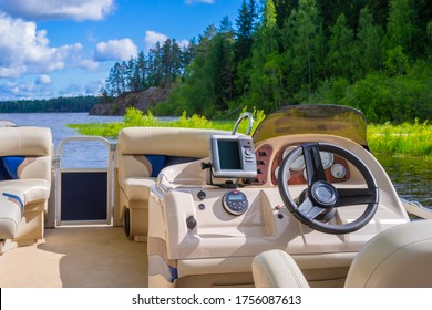 Boat with leather seats. Boat rental. Water walks on the lake. Boat on the background of the lake and forest. Outdoor recreation. Tourist service. New holiday experiences.