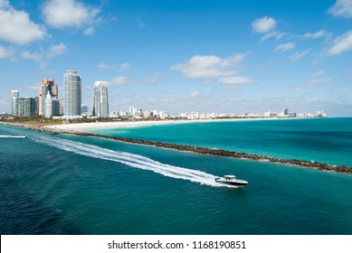 The boat leaving South Pointe Beach, the popular resort area in Miami Beach (Florida).