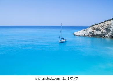 a boat in lefkada island, porto katsiki beach