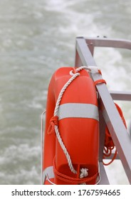 boat with lifebelt and the sea water