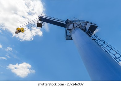 Boat lifting crane in London dock, UK