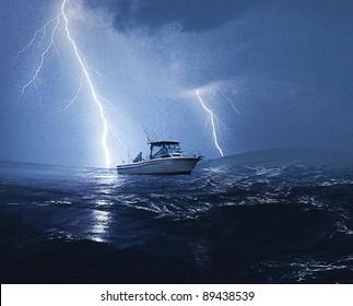 Boat in lightning storm