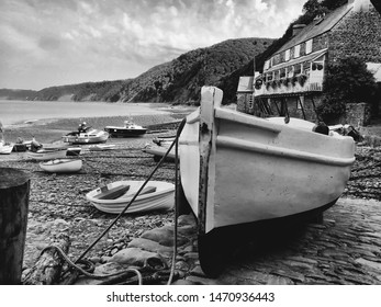 Boat at low tide - Clovelly, Devon - a black and white study
