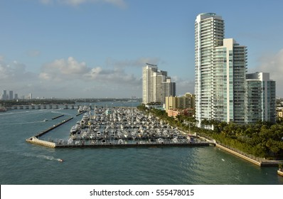 Boat marina in Miami Beach, Florida scenic view