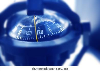 boat marine compass in black blue light backlight boat control