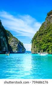 Boat in MAYA Bay Phi Phi Islands Andaman sea  Krabi Thailand.