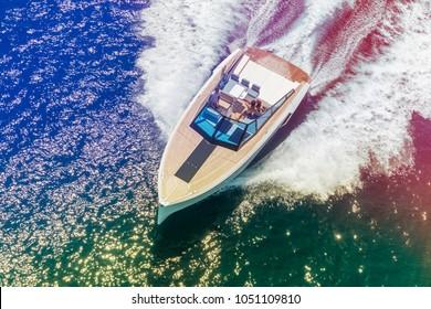 boat, motor yacht in navigation