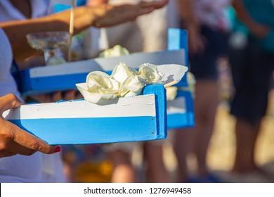 boat with offerings for iemanja, in Copacabana in Rio de Janeiro Brazil