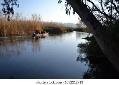 Boat on the Azmak River in Turkey