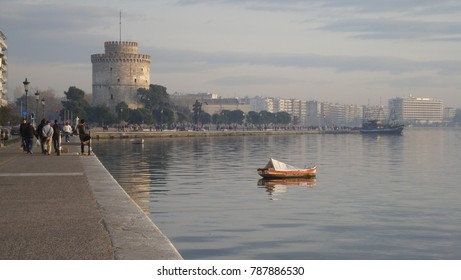 Boat on the background of the waterfront of Thessaloniki