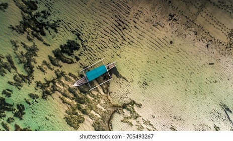 Boat on the beach Aerial photography from drone camera