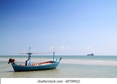 boat on the beach at hua hin,thailand