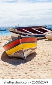 Boat on the beach at sunrise time, Sal - Cabo Verde