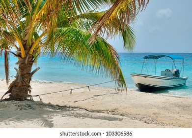 A Boat on a Beautiful Island in Belize