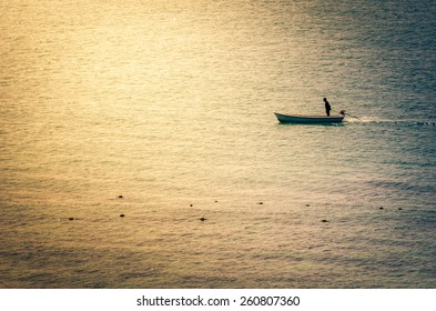 Boat on the blue sea nature in Thailand vintage