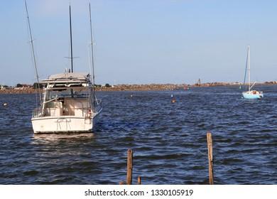 boat on the calm sea, Itajai, Brazil - 2019
