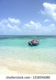 boat on Caret Island Guadeloupe France Caribbean