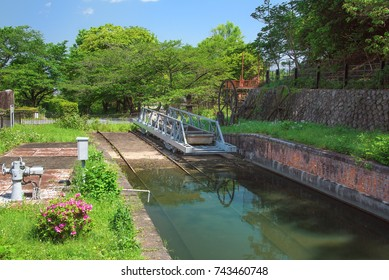 A boat on a cradle at Keage boat dock of Lake Biwa Canal, Kyoto, Japan.
