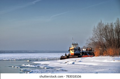 Boat on a frozen river