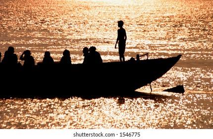 Boat on the Ganga river, India.