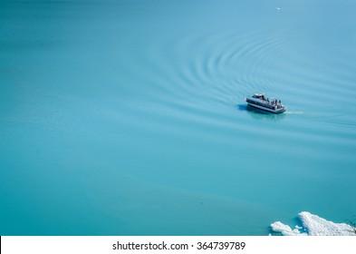Boat on the glacier lake