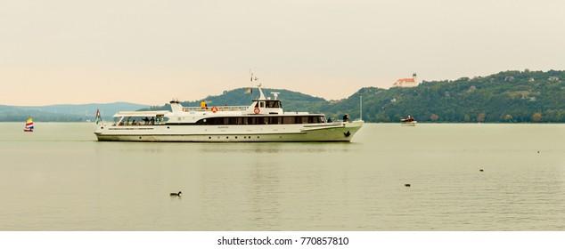 Boat on the lake Balaton - BALATONFURED - HUNGARY - 22.09.2015.