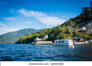 Boat on the lake. Costa da Lagoa. Lagoa da Conceicao, Florianopolis, Brazil.