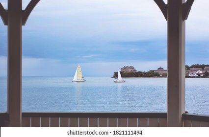 A boat on Lake Ontario on a cloudy day. Taken at Niagara-on-the-Lake.