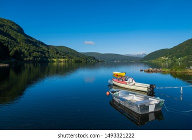 Boat on lake Oppheimsvatnet. Voss, Norway. July 2019