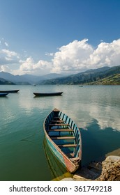 Boat on the lake in Pokhara