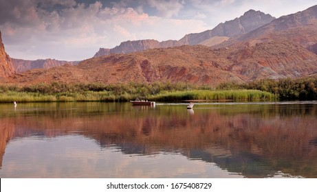 A boat on Lees Ferry Landing on the Colorado River, Glen Canyon, Arizona.   8 September 2017