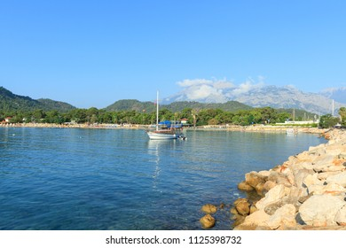 Boat on the Mediterranean Sea in Kemer, Turkey