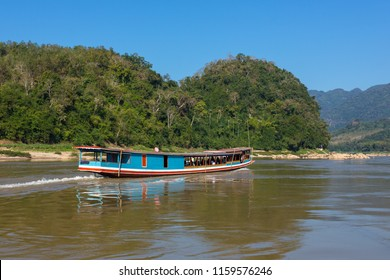 Boat on the Mekong river Laos