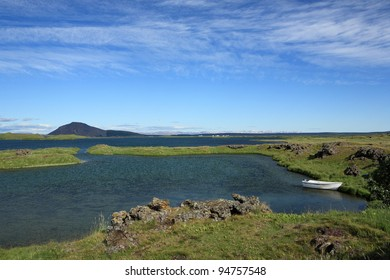 Boat on Myvatn Lake in northern Iceland