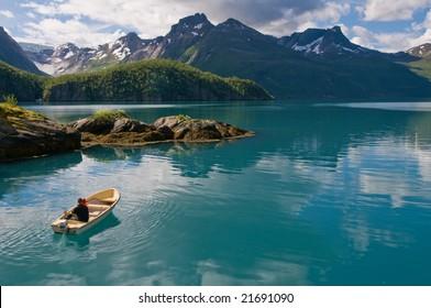 Boat on Norwegian fjord