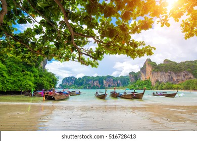 boat on Railay beach in Krabi Thailand. Asia