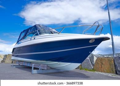 boat on repair in dry dock