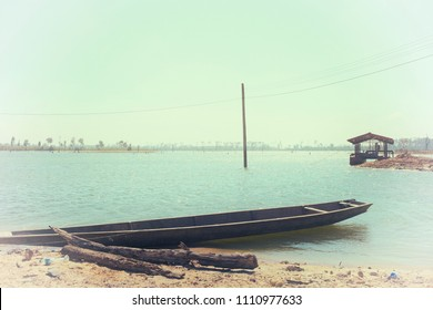 boat on the river, flim tone