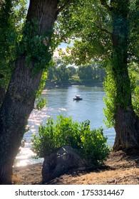 Boat on Sacramento River summer day