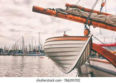 Boat on a sailing ship in port