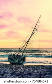 Boat on the sand beach sunset or sunrise in twilight and colorful of cloud sky and sun, Seascape landscape nature and relaxation and summer vacation concept