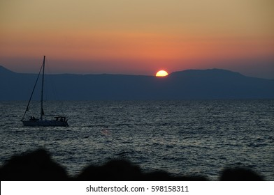 Boat on the sea in Greece