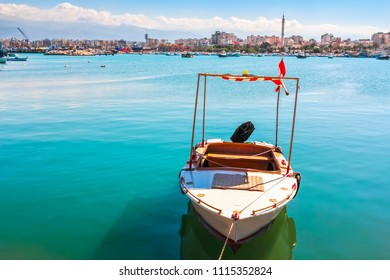 Boat on sea, view of Tripoli, Lebanon