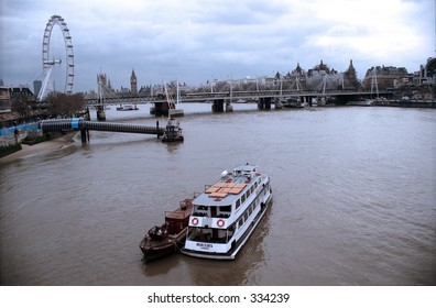 Boat on Thames River in London