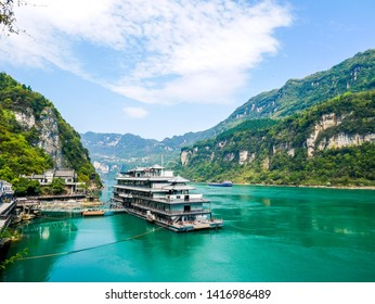 the boat on  Yangtze River at Three Gorges Tribe Scenic Spot,located in the Xiling Gorge of Three Gorges, Yichang, Hubei, China