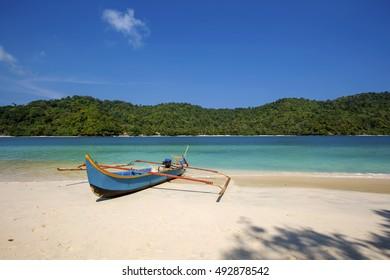 boat parking at the beach,,locations Teluk kiluan Lampung indonesia