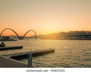 Boat pier for tourists at Elizabeth Quay at sunset. Low key.