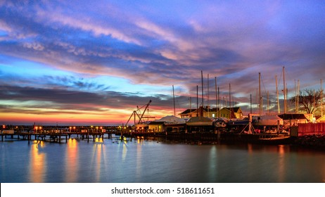 Boat Piers with colorful sunrise on Lake Michigan in Milwaukee, Wisconsin