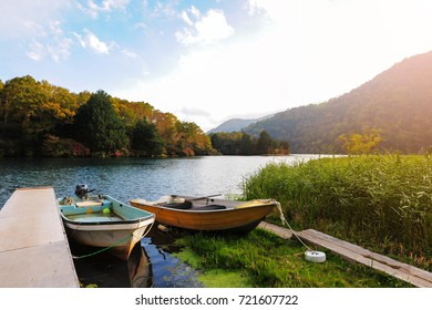 Boat in the port on lake countryside in Japan