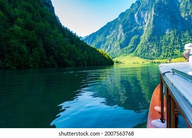 Boat POV: on lake Königssee, Bavaria, Germany, in summer